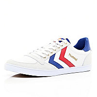 White Hummel colour block slim trainers