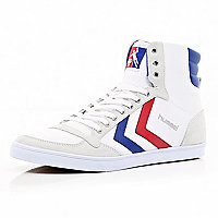 White colour block Hummel high tops
