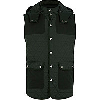Green quilted contrast patch gilet