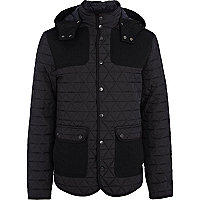 Navy quilted contrast patch jacket