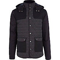 Navy jersey sleeve quilted casual jacket