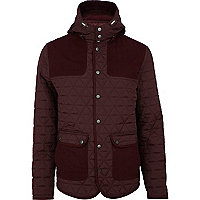 Red casual quilted patch jacket