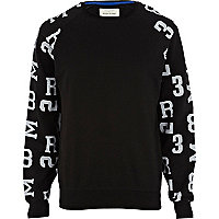 Black number print sleeve sweatshirt