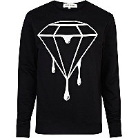 Black dripping diamond print sweatshirt