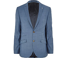 Blue cross-hatch wool-blend slim suit jacket