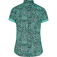Green tribal scribble print shirt
