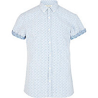 Pale blue ditsy print short sleeve shirt