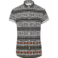 Black fluro tribal print short sleeve shirt