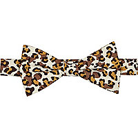 Brown leopard print bow tie