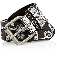 Black and white Mexican print belt