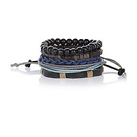 Black woven beaded bracelet pack