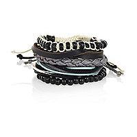 Black bead woven bracelet pack