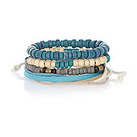 Blue and ecru bracelet pack