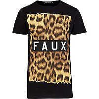 Black Friend or Faux leopard print t-shirt