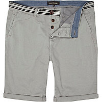 Grey striped waist turn up chino shorts