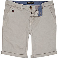 Grey turn up chino shorts