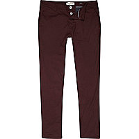 Dark red skinny stretch trousers