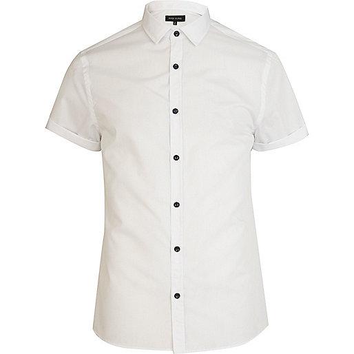White short sleeve poplin shirt