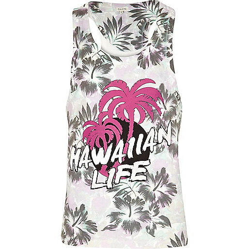 White Hawaiian life print vest