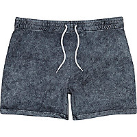 Black acid wash jersey shorts