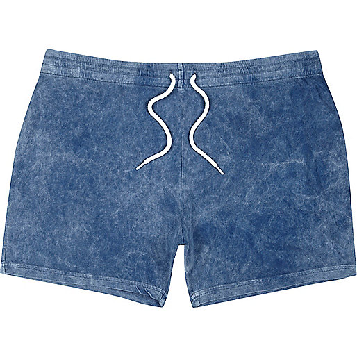 Blue acid wash jersey shorts