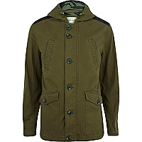 Khaki green shoulder patch parka jacket