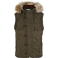 Khaki green faux fur trim parka gilet