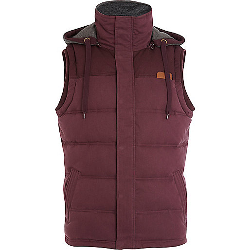 Dark red casual padded gilet