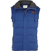 Blue casual padded gilet