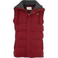 Red casual padded gilet