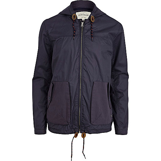 Navy casual hooded bomber jacket