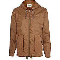 Light brown casual hooded bomber jacket