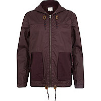 Dark red casual hooded bomber jacket