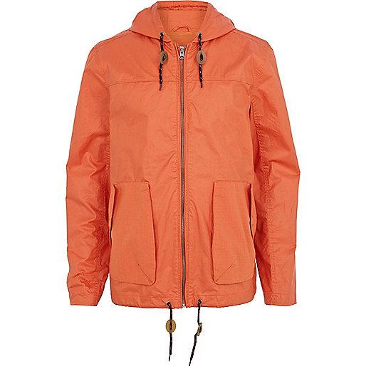 Orange casual hooded bomber jacket