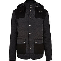 Navy casual quilted patch jacket