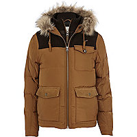 Light brown down feather padded jacket