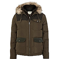 Khaki down feather padded jacket