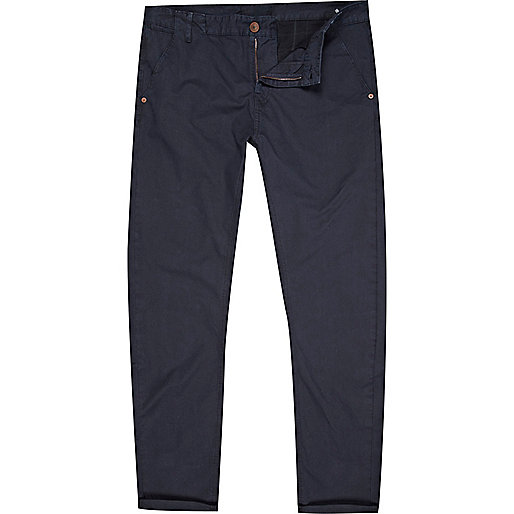 Navy blue slim chinos