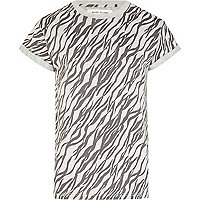 Grey zebra print crew neck t-shirt