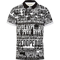 White swag dope word print polo shirt