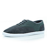 Grey mesh panel lace up plimsolls