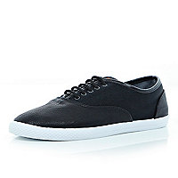 Black mesh panel lace up plimsolls