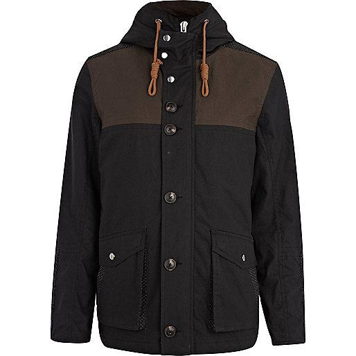 Navy waxed two-tone parka jacket