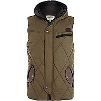 Khaki green quilted utility gilet