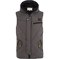 Dark grey quilted utility gilet