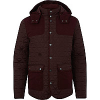 Dark red casual quilted patch jacket