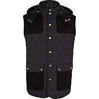 Navy quilted contrast patch gilet