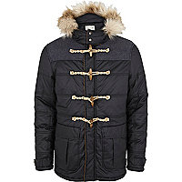 Navy blue padded casual duffle jacket
