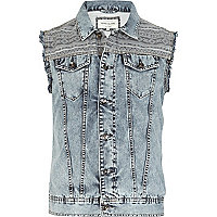 Light wash aztec panel denim gilet