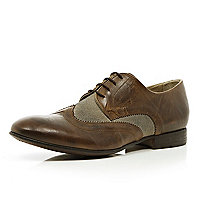 Brown contrast panel formal shoes